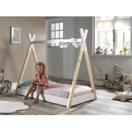 Bílá dětská dřevěná postel Vipack Tipi 70x140 cm