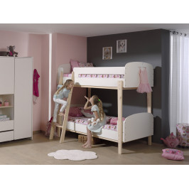 Bílá dřevěná dětská patrová postel Vipack Kiddy 90x200 cm