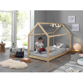 Přírodní dětská dřevěná postel Vipack Cabane 90x200 cm