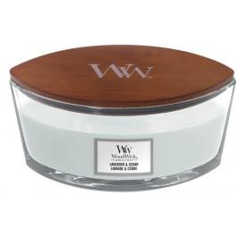 Vonná svíčka WoodWick loď, Lavender & Cedar