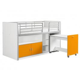 Oranžová dřevěná patrová postel se stolkem a komodou Vipack Bonny 200 x 90 cm