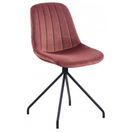 SCANDI Růžová sametová jídelní židle Dominico