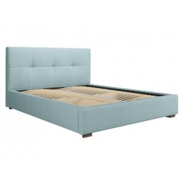 Světle modrá látková postel MICADONI SAGE 140 x 200 cm