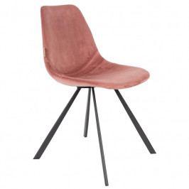 Jídelní židle DUTCHBONE FRANKY, samet, růžová 1100368 Dutchbone