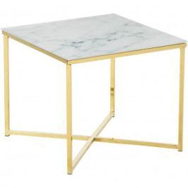 Konferenční stolek Venice 50x50 cm, sklo, bílá/zlatá SCHDN0000074145 SCANDI