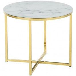 Konferenční stolek Venice 50 cm, sklo, bílá/zlatá SCHDN0000074144 SCANDI
