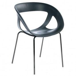 Zahradní židle Amon, plast/chrom, černá MOE2212213 Garden Project