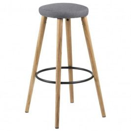 Barová židle Arnori, látka, šedá/dub SCHDN0000072423 SCANDI