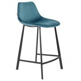 Barová židle DUTCHBONE FRANKY VELVET 80 cm, modrá 1500071 Dutchbone