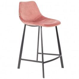 Barová židle DUTCHBONE FRANKY VELVET 80cm, starorůžová 1500069 Dutchbone