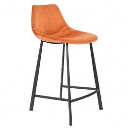 Barová židle DUTCHBONE FRANKY VELVET 65 cm, oranžová 1500068 Dutchbone
