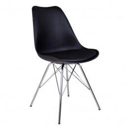 Jídelní židle Nordic Living Marcus, chromovaná podnož, černá 1001002 Nordic Living