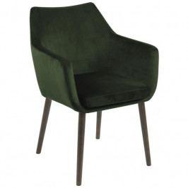 Židle Marte s područkami, samet, tmavě zelená SCHDN0000075594 SCANDI