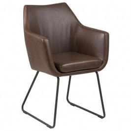 Židle Marte s područkami, ekokůže/kov, tmavě hnědá SCHDN0000075058 SCANDI