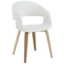 Židle Damaro, ekokůže, bílá/dub SCHDN22144-520S SCANDI+