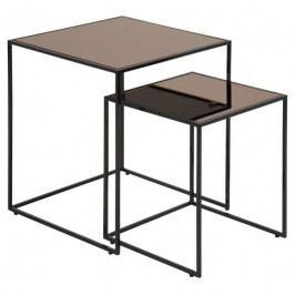Set konferenčních stolků Morgan, sklo, bronzová SCHDNH000017260 SCANDI