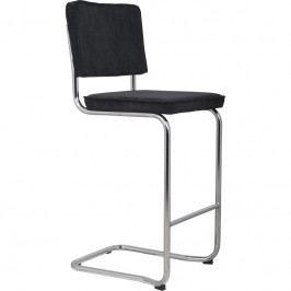 Barová židle ZUIVER RIDGE KINK RIB, černá 1500002 Zuiver