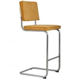 Barová židle ZUIVER RIDGE RIB, žlutá 1500208 Zuiver