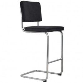 Barová židle ZUIVER RIDGE RIB, černá 1500202 Zuiver