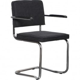 Židle ZUIVER RIDGE KINK RIB s područkami, vintage tmavě šedá 1200075 Zuiver