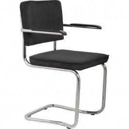 Židle ZUIVER RIDGE KINK RIB s područkami, černá 1200044 Zuiver