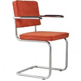 Židle ZUIVER RIDGE RIB s područkami, oranžová 1006052 Zuiver