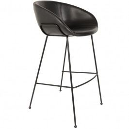 Barová židle ZUIVER FESTON 76 cm, ekokůže, černá 1500049 Zuiver