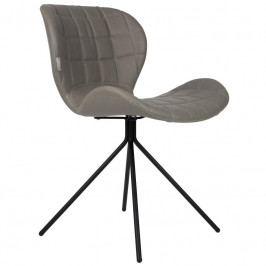 Jídelní židle ZUIVER OMG LL, ekokůže, šedá 1100252 Zuiver