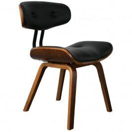 Jídelní židle DUTCHBONE BLACKWOOD, ekokůže, černá/ořech 1100240 Dutchbone