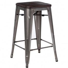 Barová židle Tolix 75, metalická/kartáčovaný ořech 94504 CULTY
