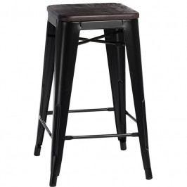 Barová židle Tolix 75, černá/kartáčovaný ořech S94514 CULTY +