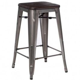 Barová židle Tolix 65, metalická/kartáčovaný ořech 94569 CULTY