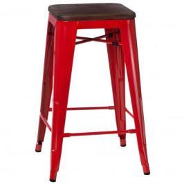 Barová židle Tolix 65, červená/ořech 94589 CULTY