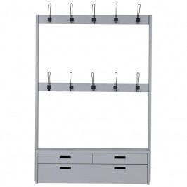 Věšákový panel s lavicí Vizard 2, šedá dee:375764-G Hoorns