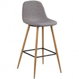 Barová židle Wanda, látka, světle šedá/dub SCHDNH000016832 SCANDI