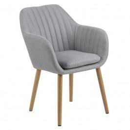 Jídelní židle Milla s prošíváním, látka, světle šedá SCHDN0000065339 SCANDI