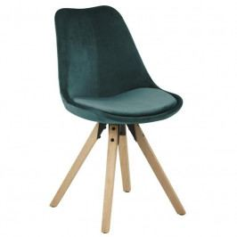 Jídelní židle Damian, samet, petrolejová/přírodní SCHDN0000073371 SCANDI