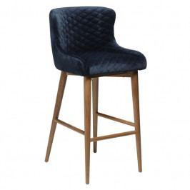 Barová židle DanForm Vetro, tmavě modrý samet, podnož dub DF200250542 DAN FORM