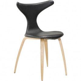 Židle DanForm Dolphin, černá, pravá kůže, podnož dub DF100995105 DAN FORM
