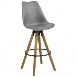 Barová židle Damian, šedá/dřevo SCHDN0000067369S SCANDI+