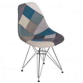 Židle DSR celočalouněná patchwork, modrá/šedá 80538 CULTY