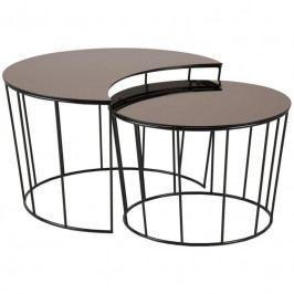 Set konferenčních stolků Solar, sklo, bronzová SCHDNH000016921 SCANDI