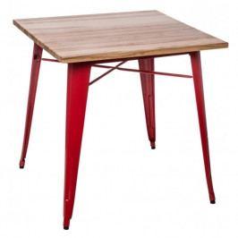 Jídelní stůl Tolix 76x76, červená/borovice 72987 CULTY