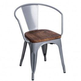 Jídelní židle Tolix 45 s područkami, šedá/ořech 72801 CULTY