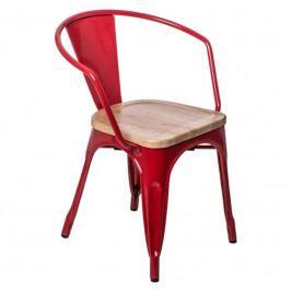 Jídelní židle Tolix 45 s područkami, červená/borovice 72765 CULTY