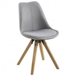 Jídelní židle Damian, látka, světle šedá/dřevo SCHDN0000063760S SCANDI+