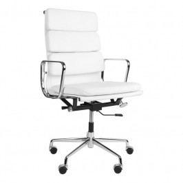 Kancelářské křeslo Soft Pad Group 219, bílá kůže/chrom 27748 CULTY