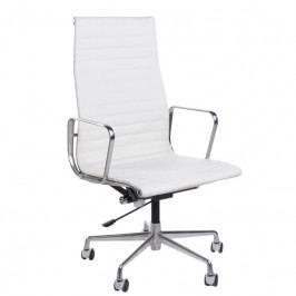 Kancelářské křeslo Soft Pad Group 119, bílá kůže/chrom 27742 CULTY