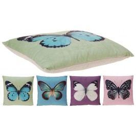 Dekorační polštářek motýlci 45x45 cm - růžová
