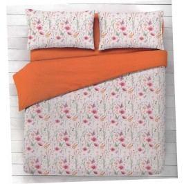 Gipetex Natural Dream Italské povlečení 100% bavlna Flora oranžová - 140x220cm / 70x90cm